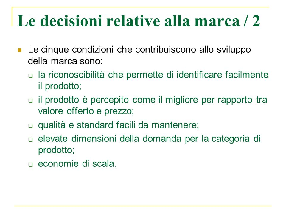 Le decisioni relative alla marca / 2