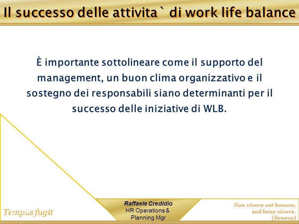 Il successo delle attivita` di work life balance