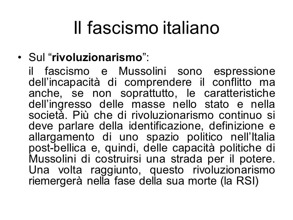 Il fascismo italiano Sul rivoluzionarismo :