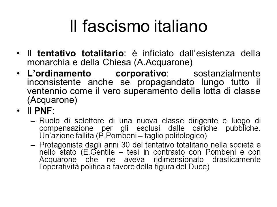 Il fascismo italiano Il tentativo totalitario: è inficiato dall'esistenza della monarchia e della Chiesa (A.Acquarone)