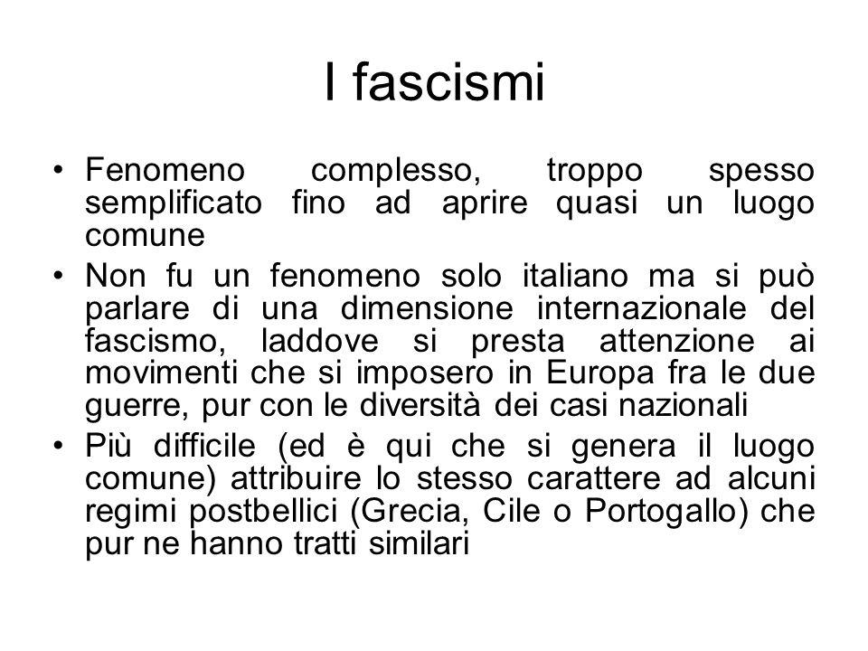 I fascismi Fenomeno complesso, troppo spesso semplificato fino ad aprire quasi un luogo comune.