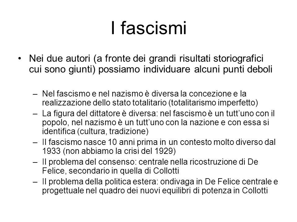 I fascismi Nei due autori (a fronte dei grandi risultati storiografici cui sono giunti) possiamo individuare alcuni punti deboli.