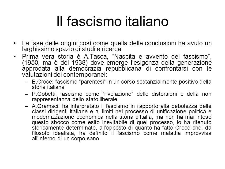 Il fascismo italiano La fase delle origini così come quella delle conclusioni ha avuto un larghissimo spazio di studi e ricerca.