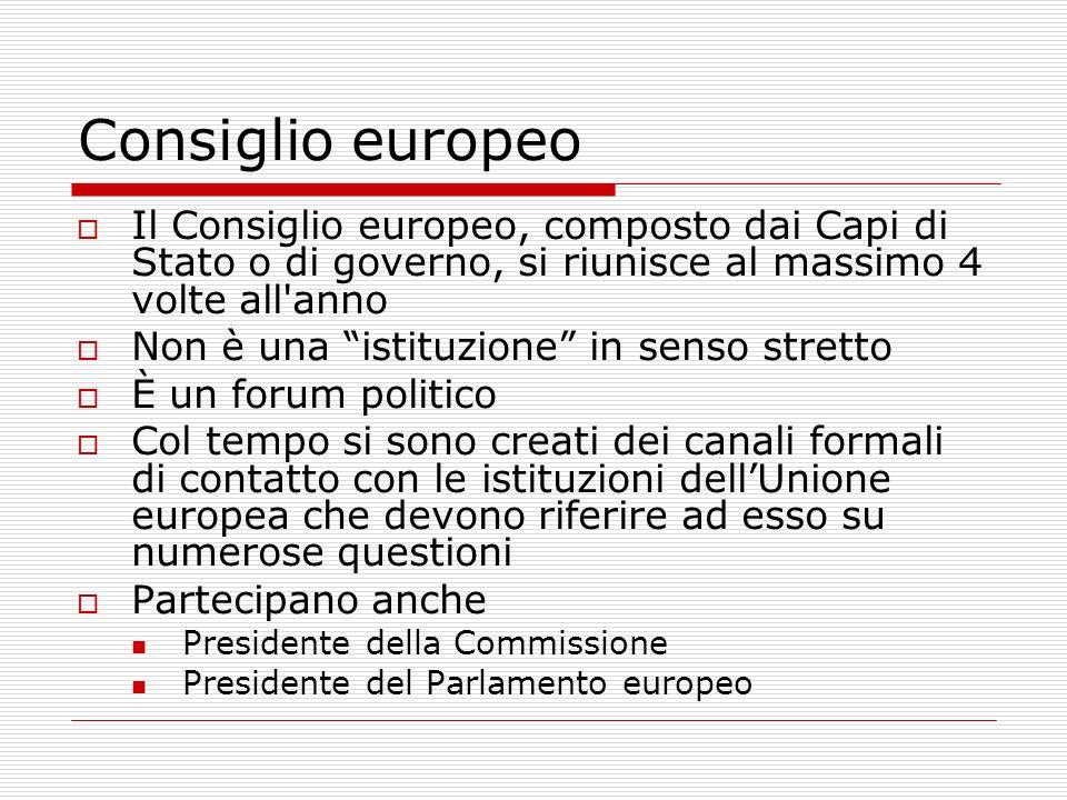 Consiglio europeoIl Consiglio europeo, composto dai Capi di Stato o di governo, si riunisce al massimo 4 volte all anno.