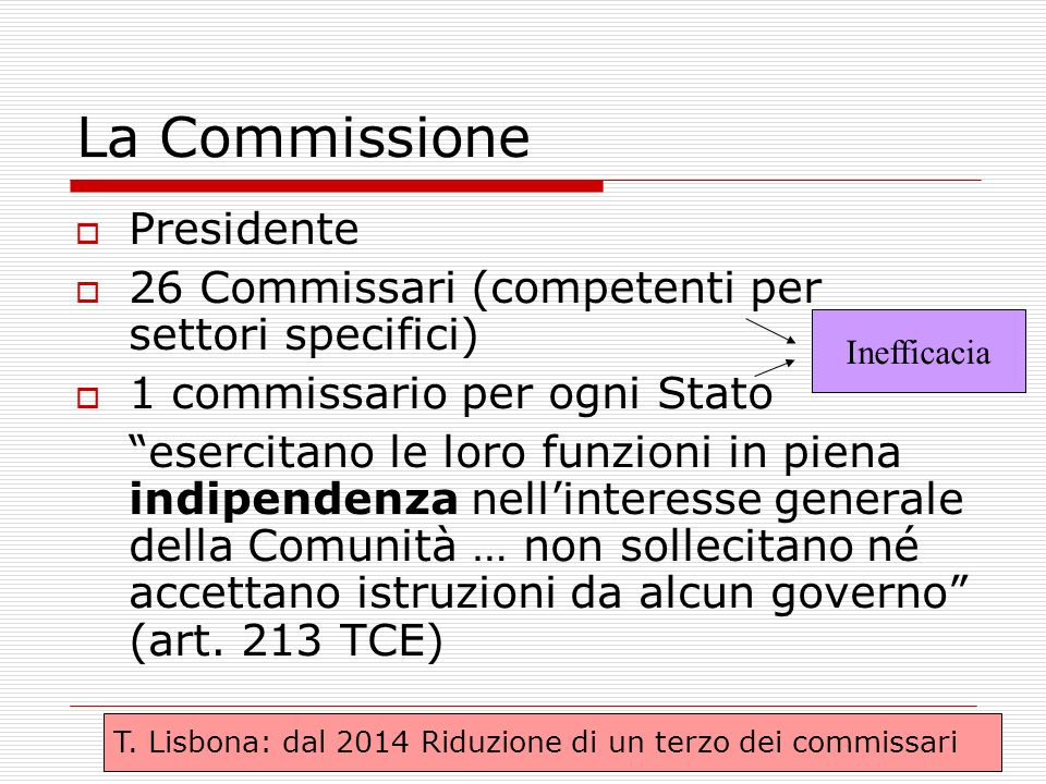 La Commissione Presidente