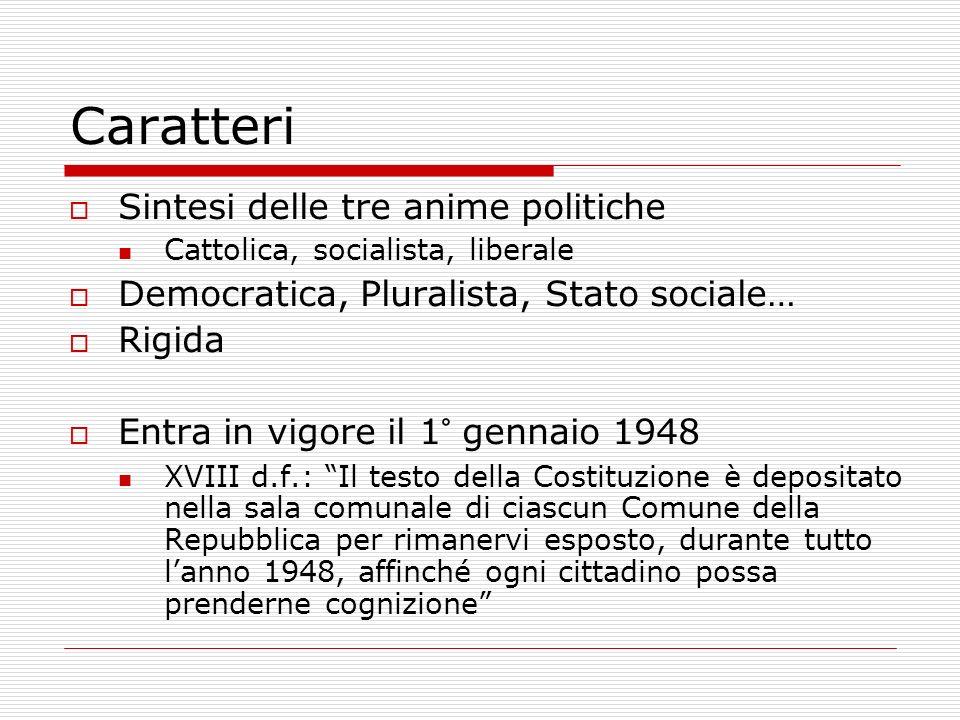 Caratteri Sintesi delle tre anime politiche