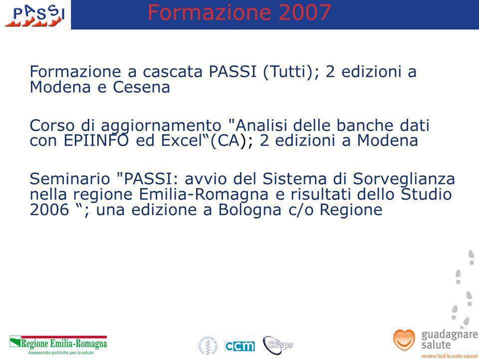Formazione 2007 Formazione a cascata PASSI (Tutti); 2 edizioni a Modena e Cesena.