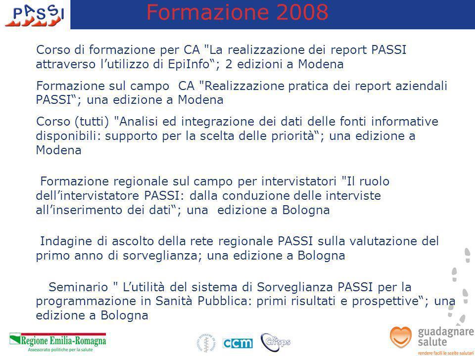 Formazione 2008 Corso di formazione per CA La realizzazione dei report PASSI attraverso l'utilizzo di EpiInfo ; 2 edizioni a Modena.
