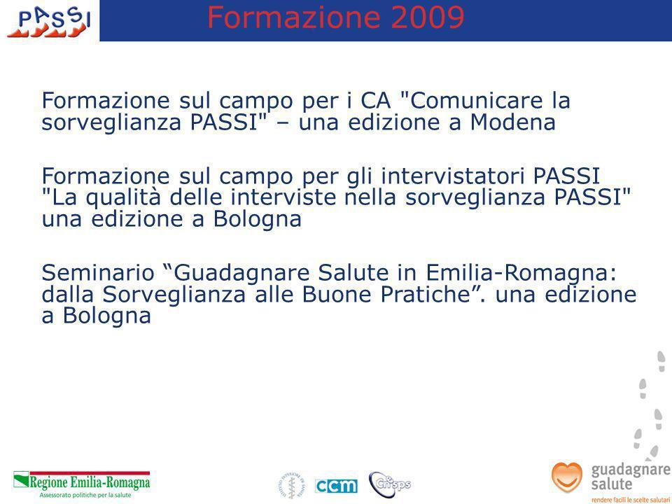 Formazione 2009 Formazione sul campo per i CA Comunicare la sorveglianza PASSI – una edizione a Modena.