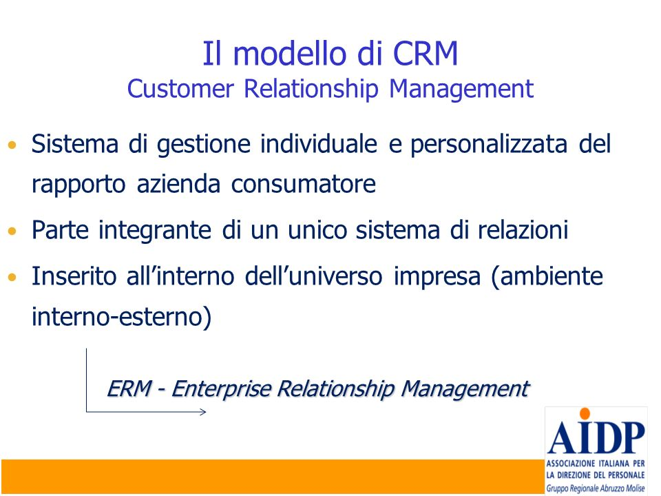 Il modello di CRM Customer Relationship Management