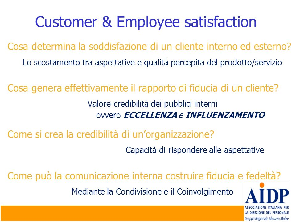 Customer & Employee satisfaction