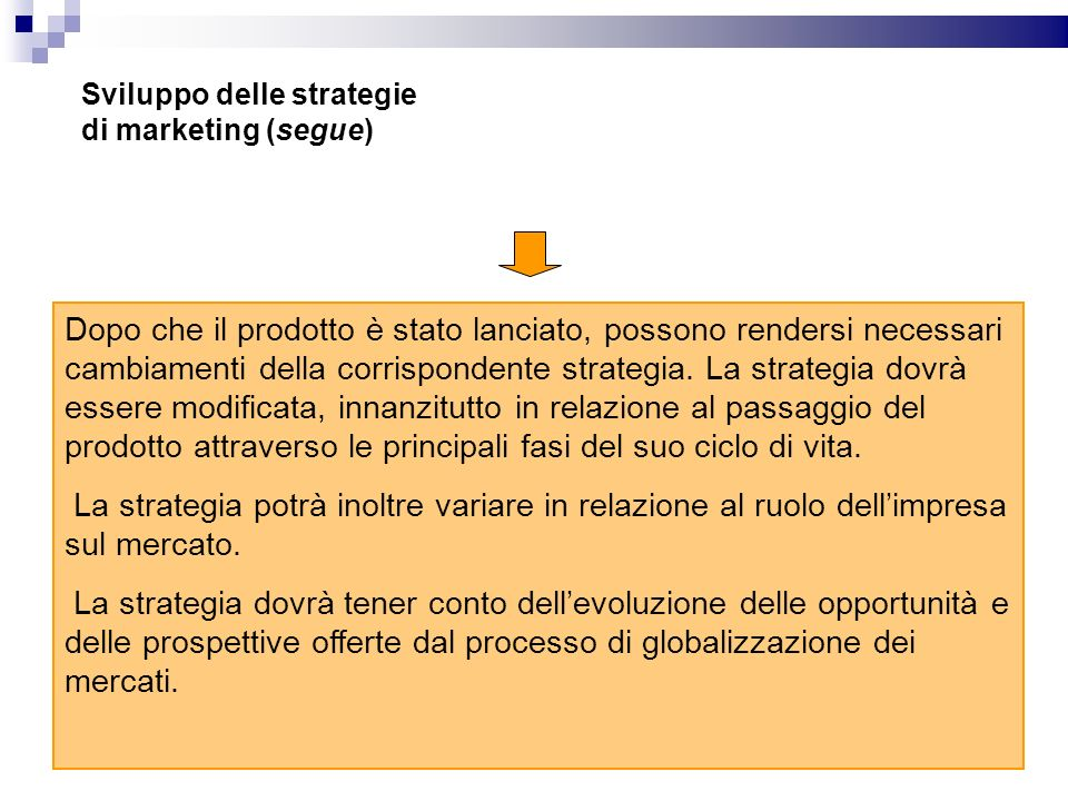 Sviluppo delle strategie di marketing (segue)