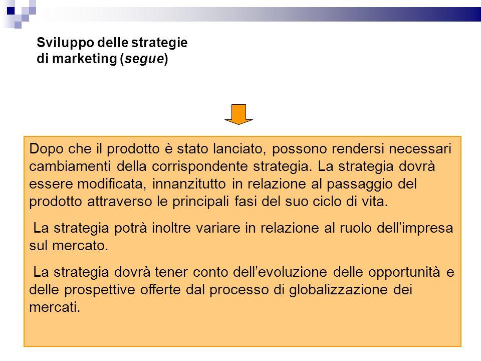 Sviluppo delle strategie di marketing (segue)