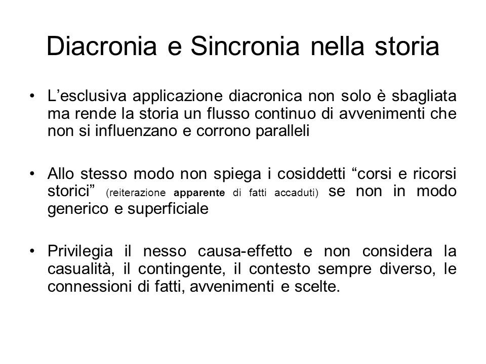 Diacronia e Sincronia nella storia