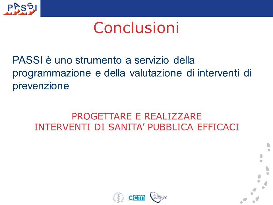 Conclusioni PASSI è uno strumento a servizio della programmazione e della valutazione di interventi di prevenzione.