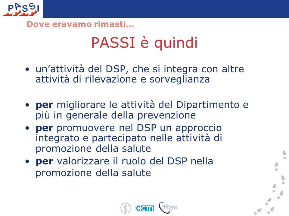Dove eravamo rimasti… PASSI è quindi. un'attività del DSP, che si integra con altre attività di rilevazione e sorveglianza.