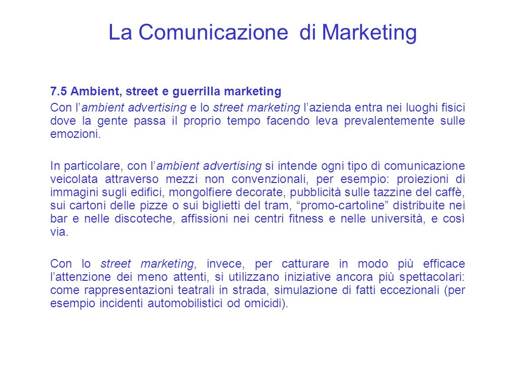 La Comunicazione di Marketing