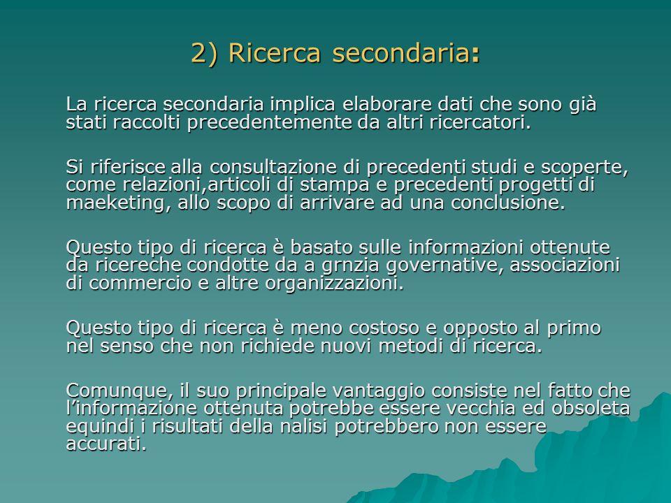 2) Ricerca secondaria: La ricerca secondaria implica elaborare dati che sono già stati raccolti precedentemente da altri ricercatori.
