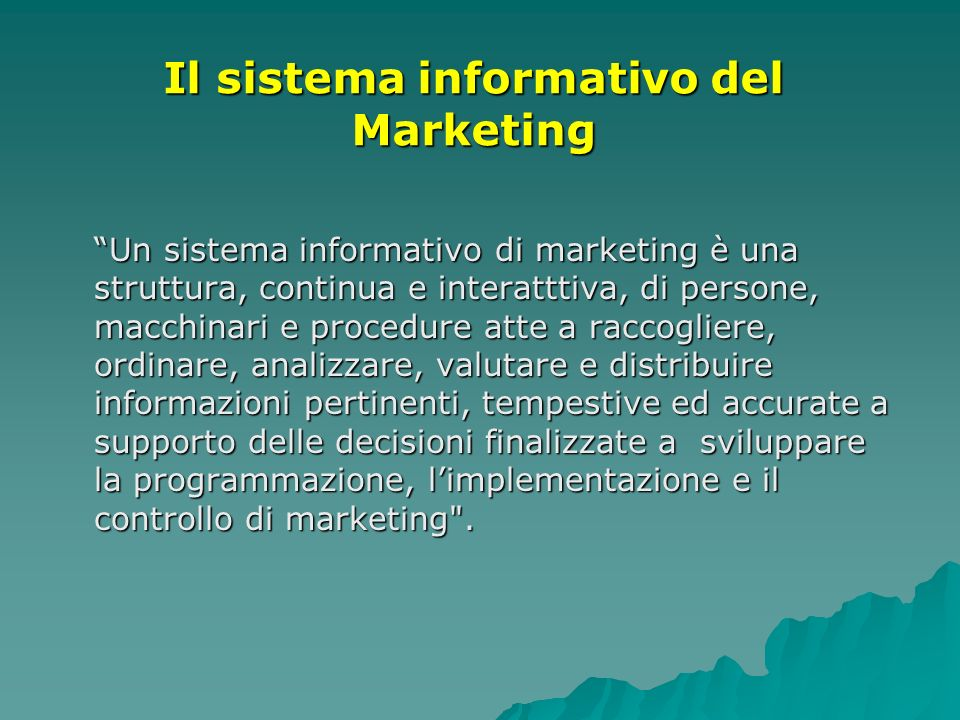 Il sistema informativo del Marketing