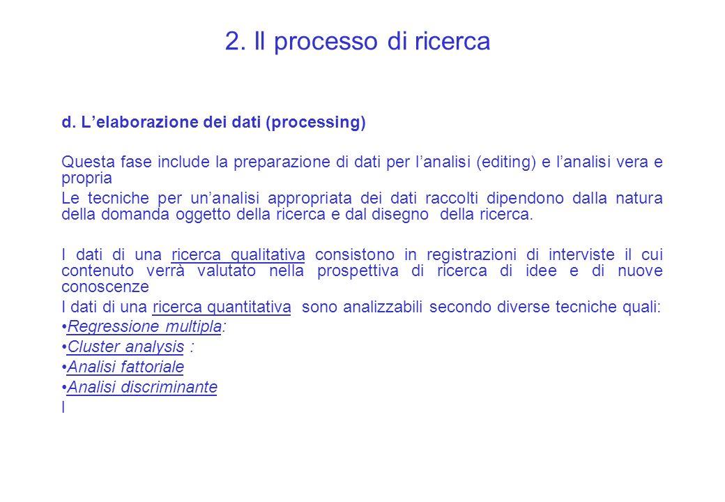 2. Il processo di ricerca d. L'elaborazione dei dati (processing)