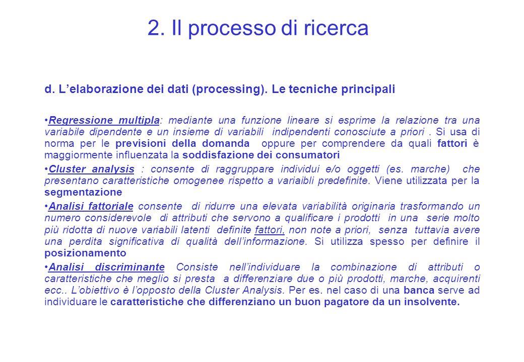 2. Il processo di ricerca d. L'elaborazione dei dati (processing). Le tecniche principali.