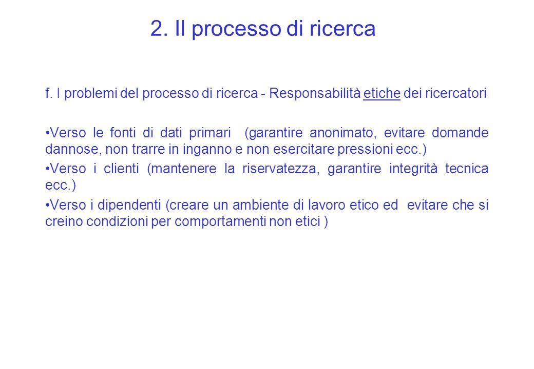 2. Il processo di ricerca f. I problemi del processo di ricerca - Responsabilità etiche dei ricercatori.