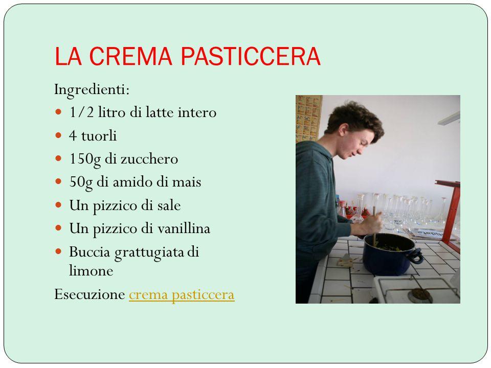 LA CREMA PASTICCERA Ingredienti: 1/2 litro di latte intero 4 tuorli