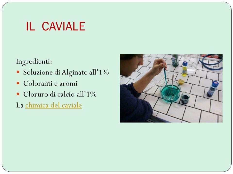 IL CAVIALE Ingredienti: Soluzione di Alginato all'1% Coloranti e aromi