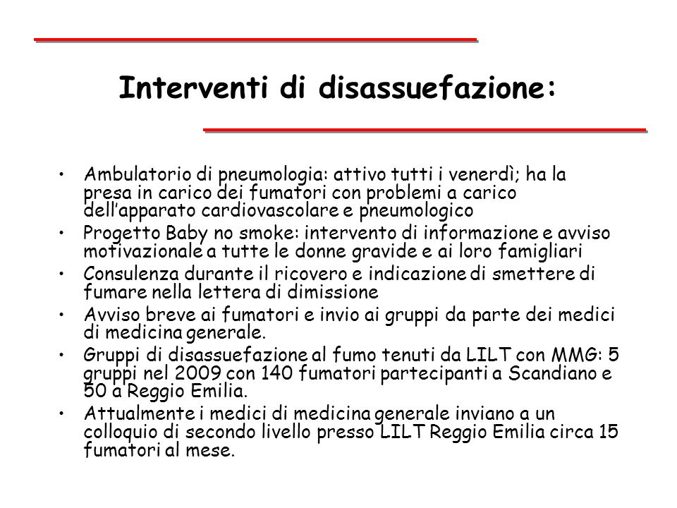 Interventi di disassuefazione:
