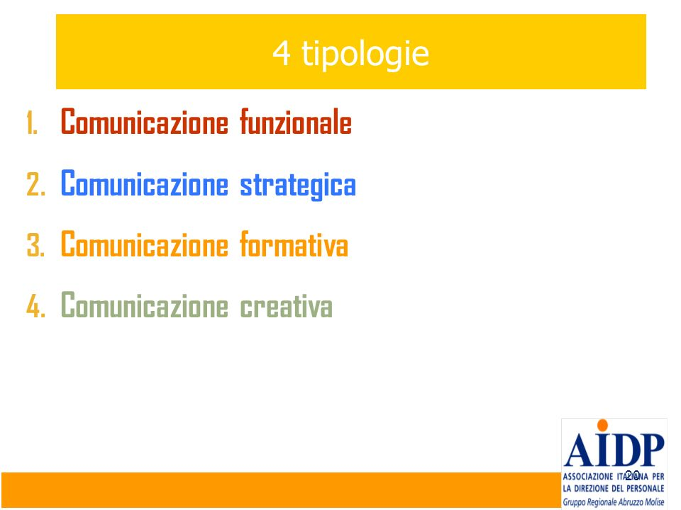 4 tipologie Comunicazione funzionale. Comunicazione strategica.