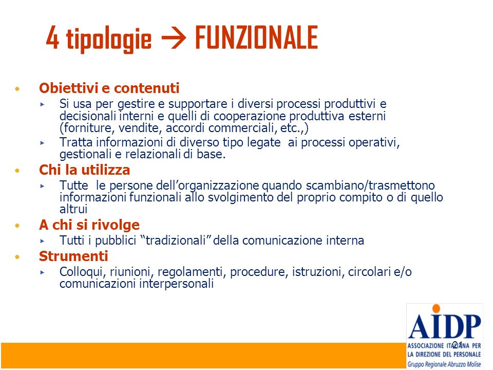 4 tipologie  FUNZIONALE