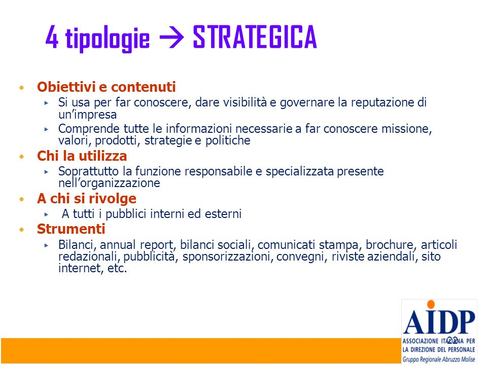 4 tipologie  STRATEGICA