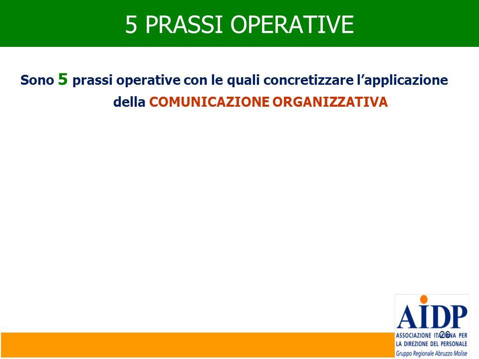 5 PRASSI OPERATIVESono 5 prassi operative con le quali concretizzare l'applicazione della COMUNICAZIONE ORGANIZZATIVA.