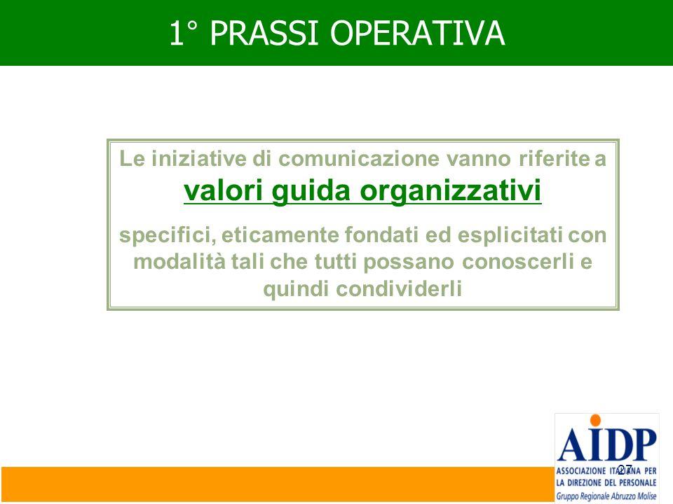 1° PRASSI OPERATIVA Le iniziative di comunicazione vanno riferite a valori guida organizzativi.