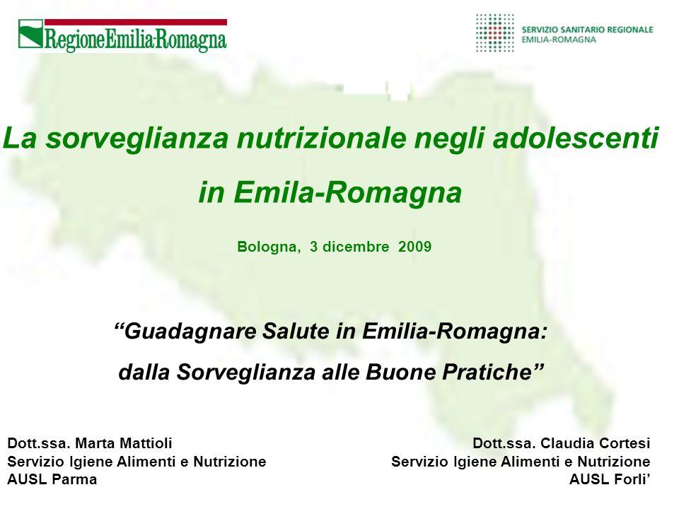 La sorveglianza nutrizionale negli adolescenti in Emila-Romagna
