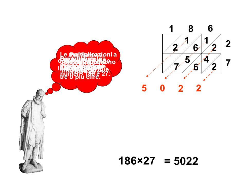 1 8. 6. 1. 6. 1. 2. 2. 2. Le moltiplicazioni a gelosia si possono fare anche a due, tre o più cifre.