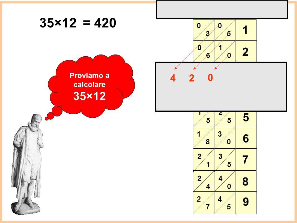 3 6 9 1 2 5 8 4 7 5 1 2 3 4 1 × 2 3 4 5 6 7 8 9 35×12 = 420 Proviamo a calcolare 35×12 4 2