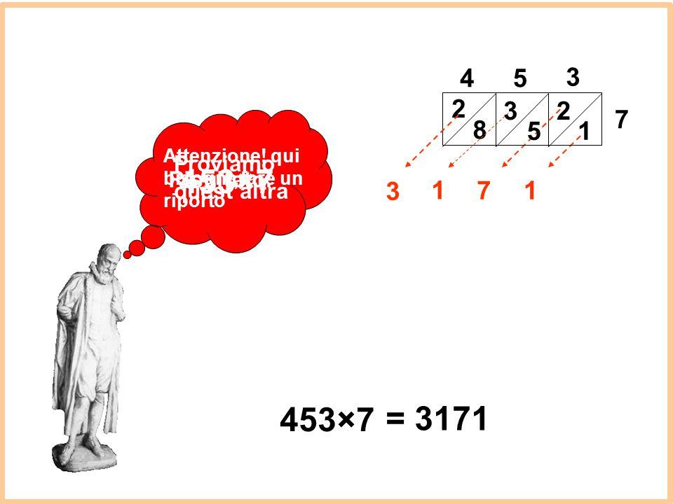 453×7 453×7 = 3171 4 5 3 2 8 5 3 2 1 7 3 1 7 1 Proviamo quest'altra