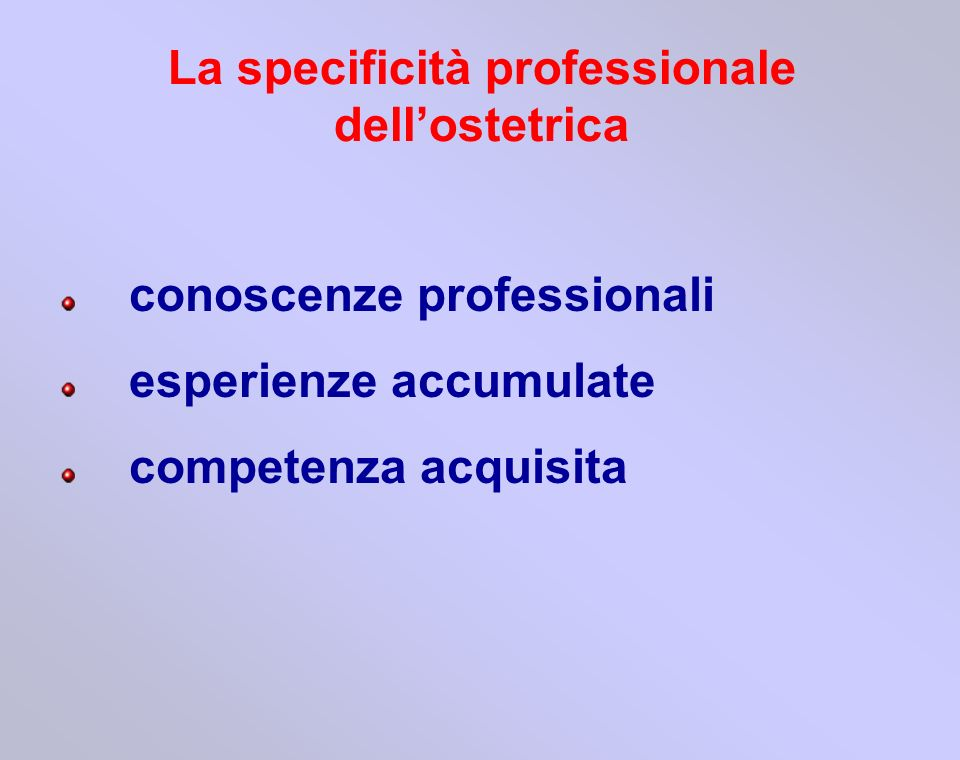 La specificità professionale dell'ostetrica