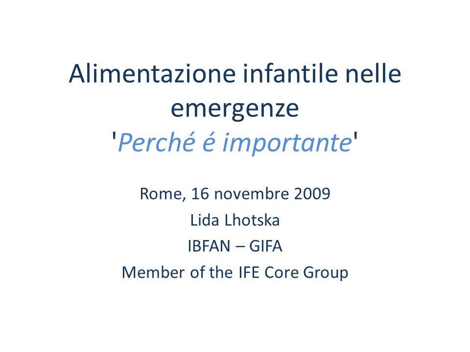 Alimentazione infantile nelle emergenze Perché é importante