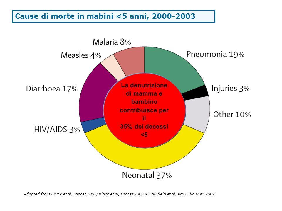 Cause di morte in mabini <5 anni, 2000-2003