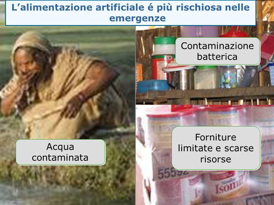 L'alimentazione artificiale é più rischiosa nelle emergenze