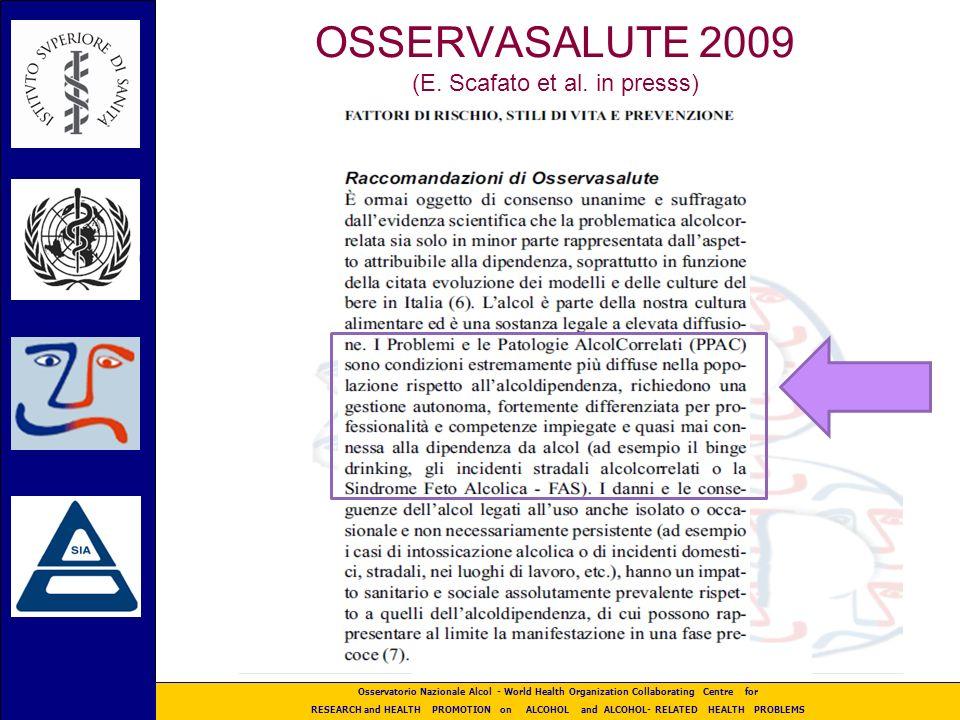 OSSERVASALUTE 2009 (E. Scafato et al. in presss)