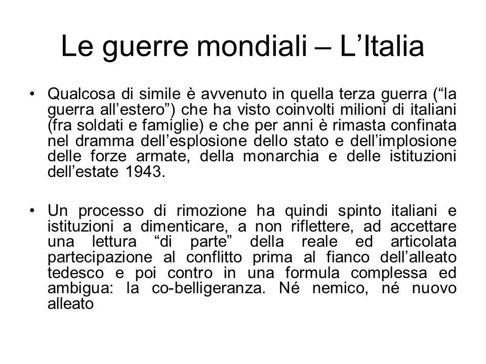 Le guerre mondiali – L'Italia