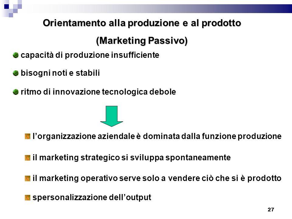 Orientamento alla produzione e al prodotto
