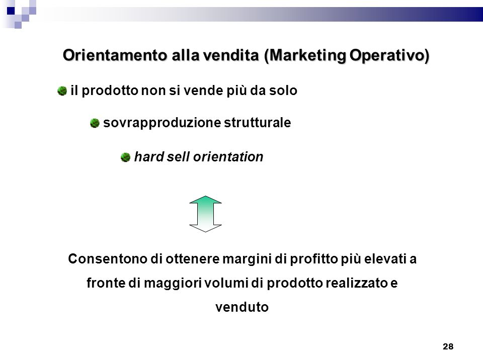 Orientamento alla vendita (Marketing Operativo)