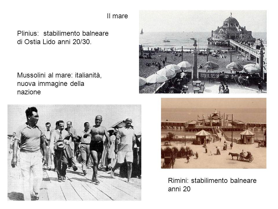 Il mare Plinius: stabilimento balneare di Ostia Lido anni 20/30. Mussolini al mare: italianità, nuova immagine della nazione.