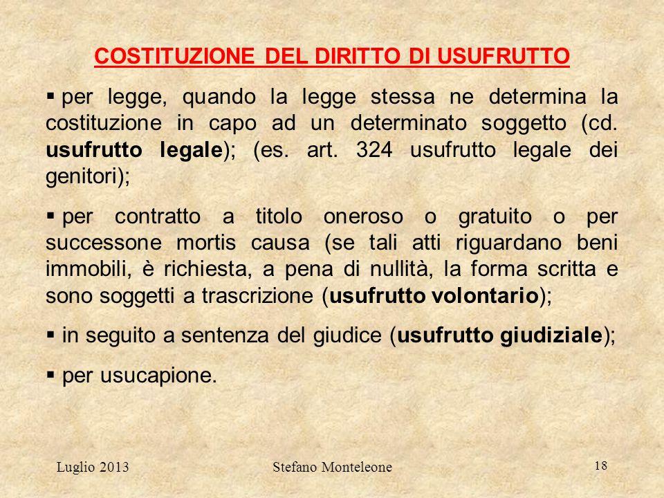 COSTITUZIONE DEL DIRITTO DI USUFRUTTO