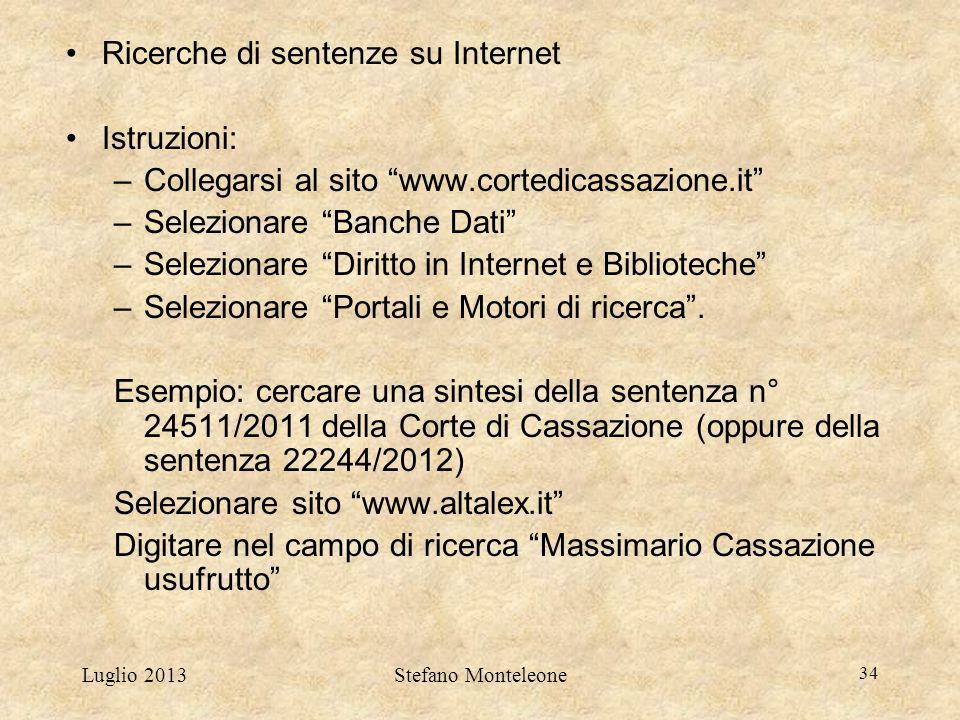 Ricerche di sentenze su Internet Istruzioni:
