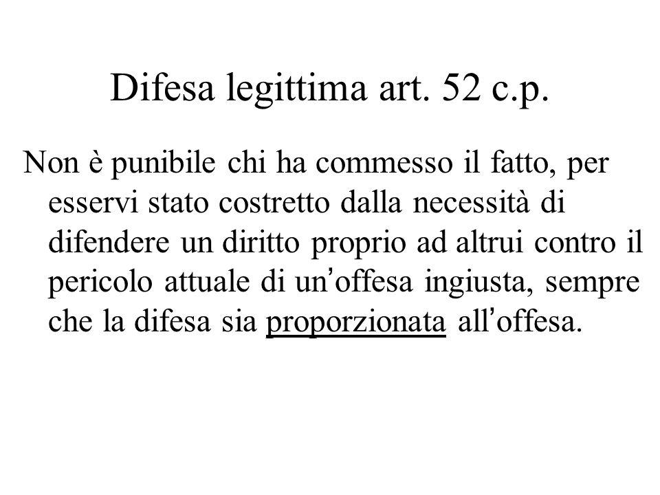 Difesa legittima art. 52 c.p.